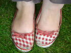 Well Worn Used Gingham Gardening Ballet Pumps Shoes ~ Size 3
