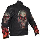 Flames and Skull Black Textile Fabric Biker Jacket Removable armour & Lining