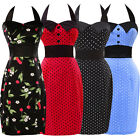 Halter Polka dot Swing 1950's Housewife Vintage Formal Pinup Rockabilly Dress UK
