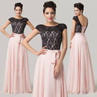 Long Backless Lace Evening Formal Party Ball Gown Prom Wedding Bridesmaid Dress