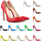 WOMENS Patent PU Leather HIGH HEELS Work Party PUMPS COURT SHOES UK Size 2 - 9
