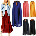 Fashion Flowing Skirt Chiffon Pleated Retro Long Dress Elastic Waist Ladies New