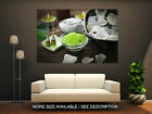 Wall Art Canvas Print Picture Spa Green Candles and Towels-Unframed