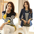 2014 Fall Fashion Womens Slim Stripes Knitted Pullover Sweater Casual Tops Tee