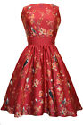 Lady V London Red Bird Floral Tea Dress Rockabilly Pinup 50's