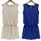 2014 Women's Sleeveless Summer Party Lace Chiffon Sexy Mini Dress Cocktail Skirt