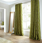 Pair of Lime Green Midtown Embroidered Faux Silk Fully Lined Eyelet Curtains BN