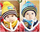 3482 Winter Baby Toddler Boy Girl Kids Warm Hat Cap + Scarf 10Month--4Year