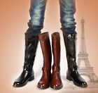 Mens knee high boots side zip buckle strap motorcycle military  combat shoes new