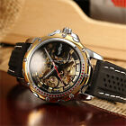 Men Skeleton Automatic Mechanical Analog Silicone Strap Wrist Watch