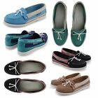 NEW LADIES LEATHER MOCASSIN SAILING LOAFER SLIP ON WOMENS DECK BOATING SHOES UK