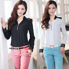 Women's Spring Sexy Chiffon Lace Long Sleeve Blouse T shirt Black White Lady New
