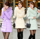 NEW Women's Fashion Warm Good Slim Big Faux Fur Collar Thick Real Down Coat