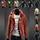 Mens Stylish Double Collar Overcoat Trench Coat Slim Fit Jacket Tops Outwear 01