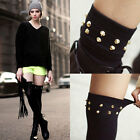 Womens Party Punk Gothic Rivet Black Hosiery Thigh-High Socks Stockings L0036#