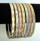 Mixed 3-Tone Semanario 14k Gold Plated Bangles Bracelet 4mm Wide Size 2 - 7