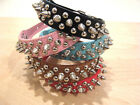 PU Leather Spiked Dog Collar 4 Large, Medium, Small Dog, Pink, Blue, Red, Black