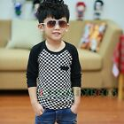 Fashion Stylish Kids Toddlers Boys White Black Plaid 100%Cotton Tops T-Shirt New