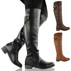 LADIES WOMENS FLAT KNEE HIGH RIDING BOOTS STRETCH WIDE LEG MID CALF WINTER SHOES