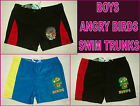 ANGRY BIRDS & PIGS Sz 4 5 or 8 - Boys SWIM SHORTS Trunks  Blue or Black Togs NEW