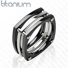 Solid Titanium Squared Black IP with Bolts Men's Wedding Band Engagement Ring