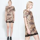 ZARA SOLD OUT. LEOPARD PRINT DRESS WITH LACE TRIM.