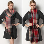 Winter Tassels Checked Plaid Warm Scarf Grids Tartan Warmer Wrap Shawl Stole