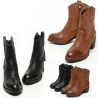 New Women's Vintage leather western cowboy ankle walker boots 5.5,6,7,7.5,8 P533