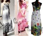 BOHO Floral Chiffon Sexy V-Neck Womens Party Beach Maxi Dress AU SELLER dr021