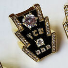The AMERICAN DREAM   Elvis Tribute Artist TCB Ring 18kt Goldover CZ Stones