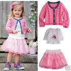 Super Cute Baby Gift Toddler girl 3 pieces top+tutu+Cardigan Outfit set pink