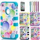 Hybrid Rugged Rubber Matte Hard Case Cover For Apple iPhone 4 4S w/ Screen Guard