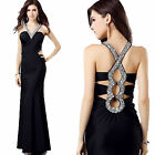 Sexy Ladies Evening Party Prom Formal Gown Wedding Bride Sparkle Dress 6-16 +18+
