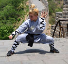 Kids & Adults Gray Cotton Shaolin Monk Kung fu Uniform Halloween Costumes