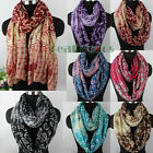 Floral & Paisley Print Long Scarf/ Infinity 2-Loop Cowl Circle Casual Scarf New