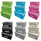 Mandy Foldable Fabric Canvas Storage Boxes Organize Container Chests 3 Piece Set