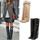 Celebrity Gothic Women Pumps Wedge Heels Top Buckle Strap Pull On Knee High Boot