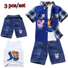 3Pcs Kids Boys Peppa Pig Shirt+ Pants+ Vest Set Outfits 1-6 Years Clothes WIUK