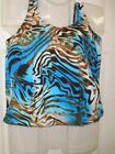 womens  size swimwear Tankini BLOUSON TOP 14 and 16 Blues and Browns