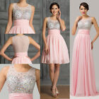 Bling Sequins Long/Short Evening Gown Prom Pageant Party Formal Bridesmaid Dress