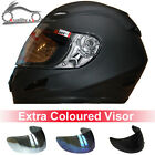 LEOPARD Full Face Motorcycle Motorbike Helmet Matt Black + Extra Coloured Visor