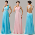 Sexy Backless V-Neck Chiffon Ball Gown Pageant Evening Prom Party Wedding Dress