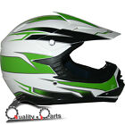 Leopard LEO-X16 Youth Children Kids Motorbike Motorcross MX Helmet Green/White
