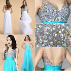 FREE SHIP Sparkly Diamond Long Evening Gown Wedding Bridesmaid Formal Prom Dress