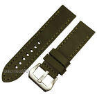 Army Green Smooth Leather Watch Band Strap Stitch Aviator Pilot Big Pin Buckle