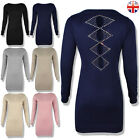 WOMENS LADIES DIAMANTE LONG SLEEVE JUMPER DRESS MINI KNITTED STRETCHY BODYCON