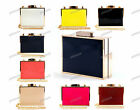 NAVY PINK RED WHITE NUDE Patent Leather Gold Trim Hard Case Box Clutch Bag 491