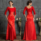 XMAS Red Mermaid Retro Lace Party Evening Ball Prom Cocktail Dress Wedding Gown