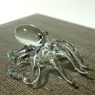 TINY CRYSTAL SQUID HAND BLOWN CLEAR GLASS ART FIGURINE DECOR OCEAN COLLECTION