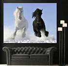 Wall Art Galloping Horses Canvas Giclee Print Black White Horse Decor Prints
